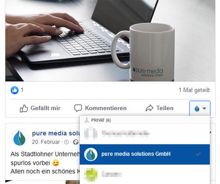 Mit Unternehmensseite kommentieren