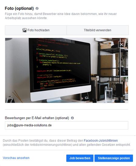 Jobanzeige auf Facebook Unternehmensseite erstellen Bild Mailadresse