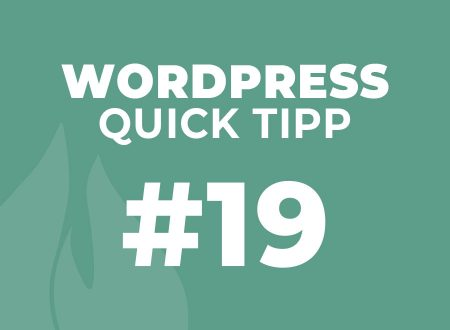 WordPress Quick Tipp #19