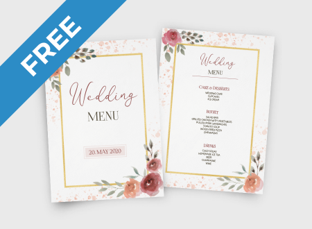 Watercolor Wedding Menu free