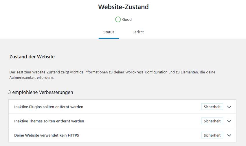Website-Zustand Good