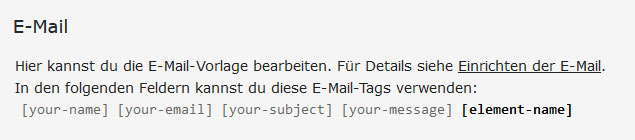 Contact Form 7 E-Mail bearbeiten