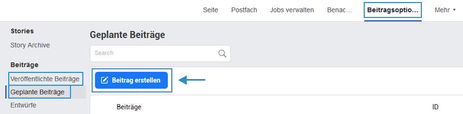 Facebook Beitragsoption - Beitrag erstellen