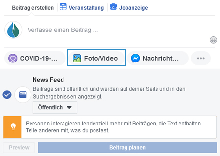 Facebook Beitragsoption - Foto / Video