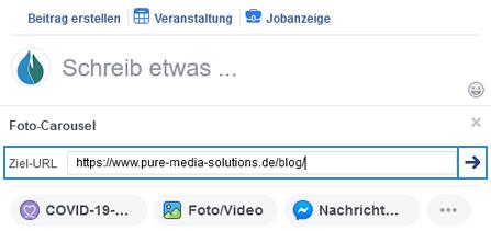 Facebook Ziel-URL angeben