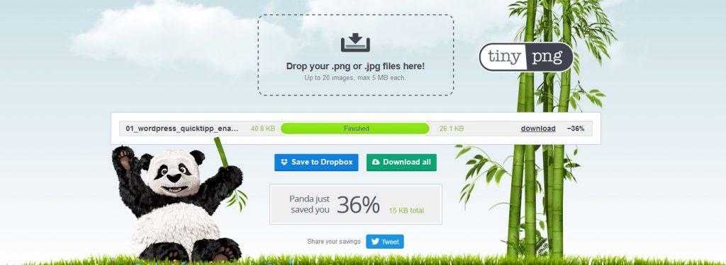 Bilddateigrößen mit TinyPNG verringern
