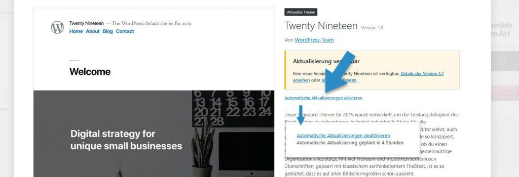 Automatische Aktualisierung von Themes im WordPress Backend