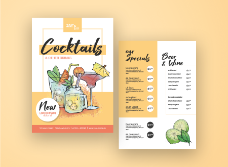 Illustrated Cocktail Menu