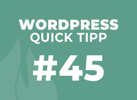 WordPress Quick Tipp