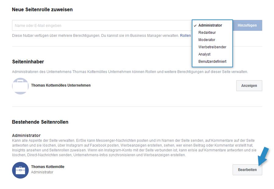 Facebook Verwaltung Seitenrollen