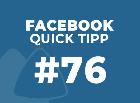 Facebook Quick Tipp #76
