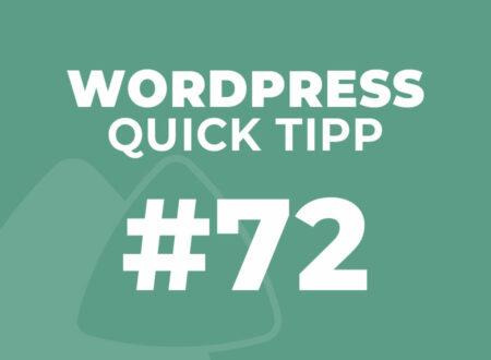 WordPress Quick Tipp 72