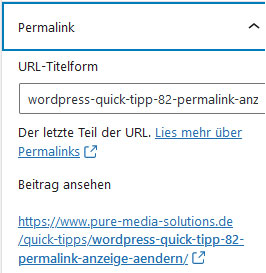 Permalink-Menüpunkt im WordPress Backend