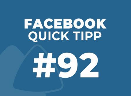 Facebook Quick Tipp #92