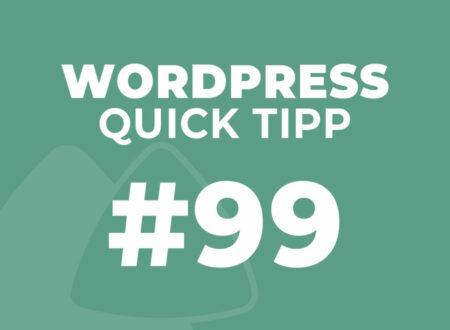 WordPress Quick Tipp #99