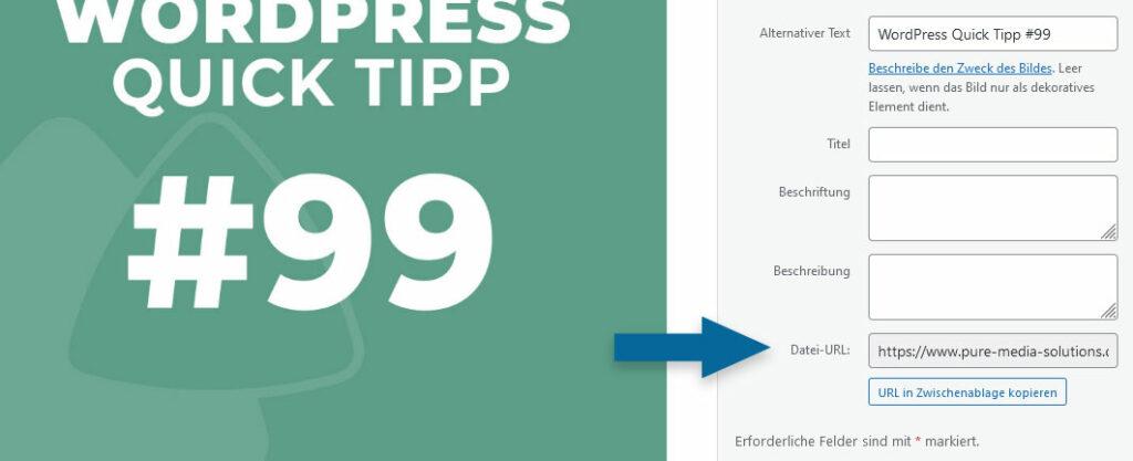 WordPress Mediathek: Datei-URL